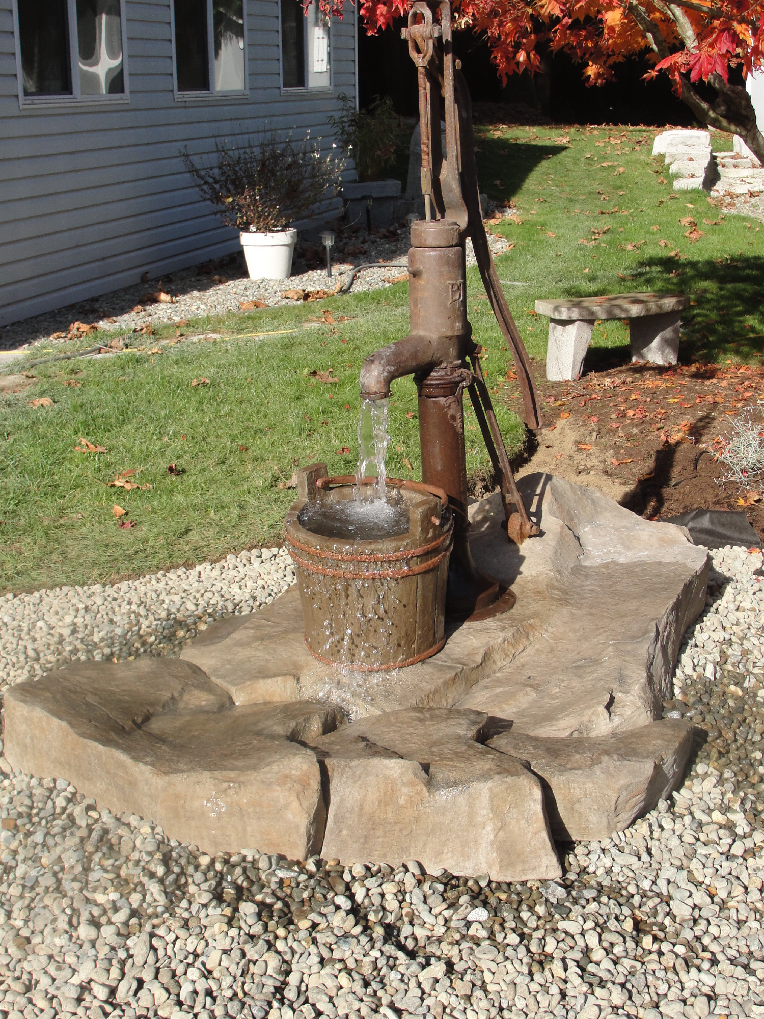 Antique cast iron well pump water feature images frompo for Water feature pumps